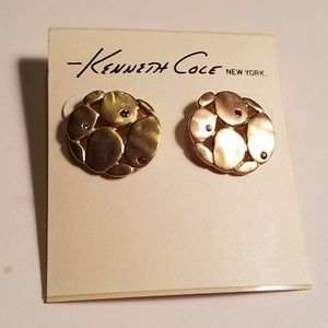 Kenneth Cole gold tone pave earrings